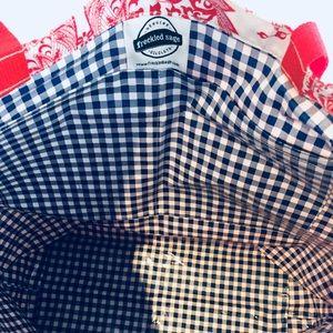 Freckled Sage Oilcloth Market Bag Plaid Brown